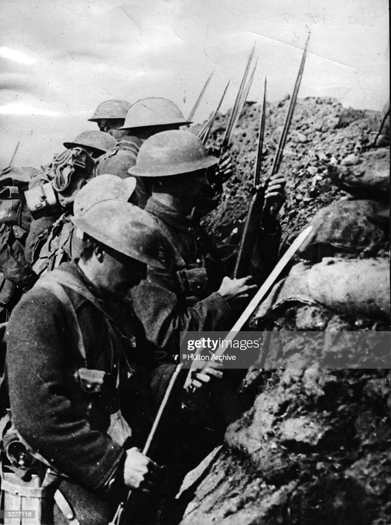 Canadian troops prepare for the charge over the top at the Battle of the Somme.