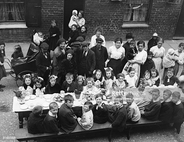 East Enders celebrate the end of World War I at a Peace Day street party in London