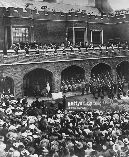 The Public Proclamation of Peace is read from the parapet of Friary Court St James' Palace London