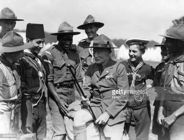 Robert BadenPowell the English soldier who won fame as the defender of Mafeking in the Boer War He founded the Boy Scouts in 1908 and is seen with...