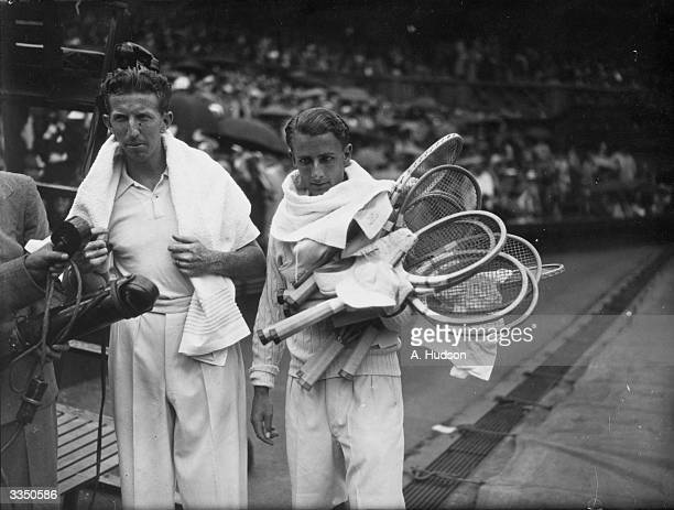 Donald Budge of the USA speaks into the microphone after his victory over Britain's Bunny Austin in the men's singles final at the Wimbledon Lawn...