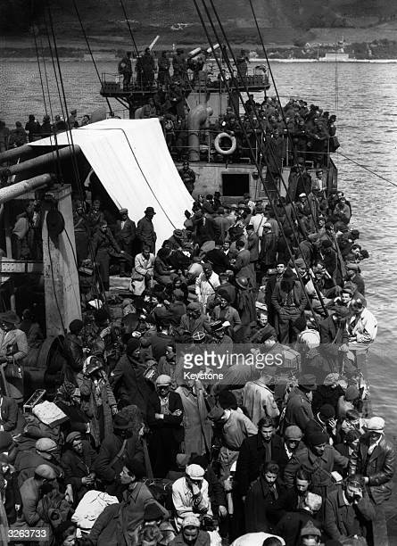 Crowded ship load of refugees leave for England from St Jean de Luz, the last 'open' port on the Atlantic Coast in France.