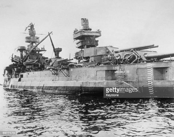 One of the ships which survived the atomic bomb explosion at Bikini Atoll the battleship USS Arkansas The bomb was dropped from 'Dave's Dream' on the...