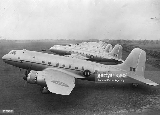 Bristol Hercules powered Handley Page Hastings C1 transport aircraft lined up at the factory airfield at Radlett Hertfordshire prior to delivery to...