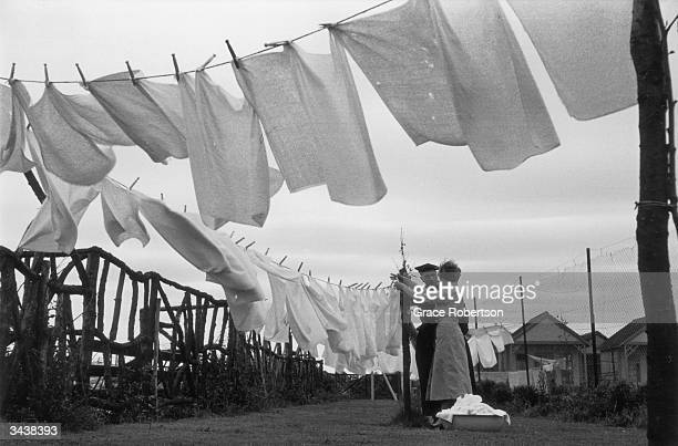Washing lines blowing in the wind at Butlin's Holiday camp at Skegness in Lincolnshire The camp provides a free nappy washing service Original...