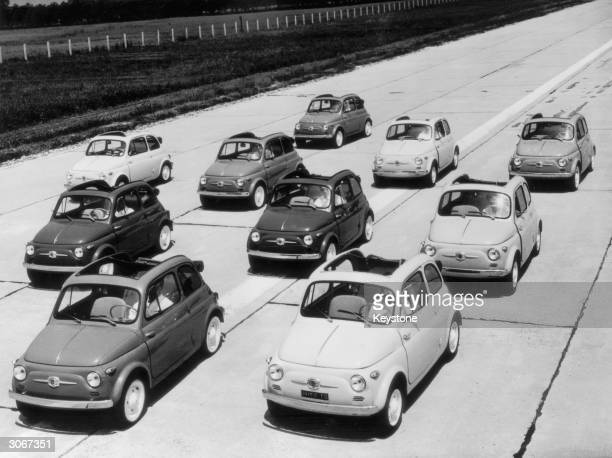 Ten Fiat 500's at Brand's Hatch racetrack