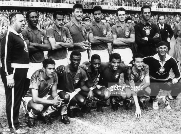 The Brazilian team after their 52 victory over Sweden in the World Cup Final match in Stockholm to take the Jules Rimet trophy for the first time