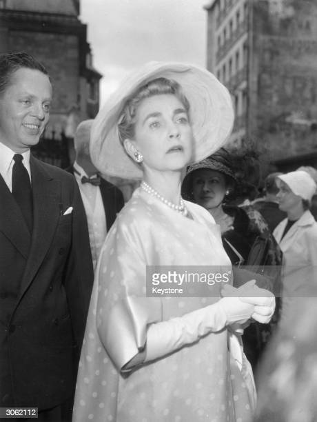 American socialite and heiress Barbara Woolworth Hutton arriving at the church to attend the wedding of 22 year old Isabella de Rovasenda...
