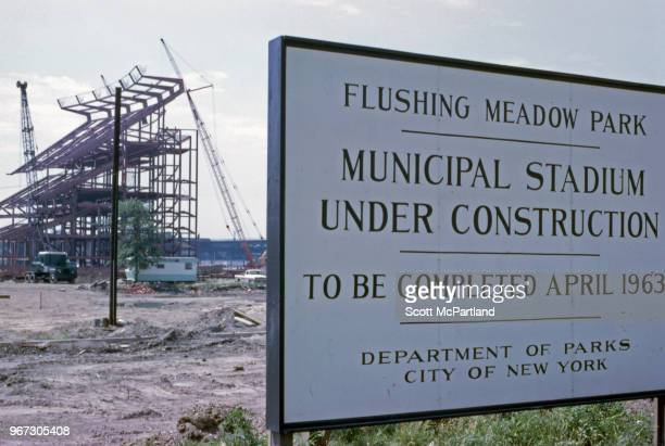 New York City - Construction sign for the Municipal Stadium at Flushing Meadows, later named Shea Stadium, in Corona, New York.