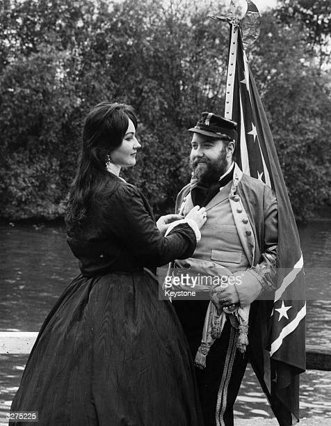 'Major General' Marcus Hinton with his wife both in period costume to celebrate the centenary of the Battle of Gettysburg.
