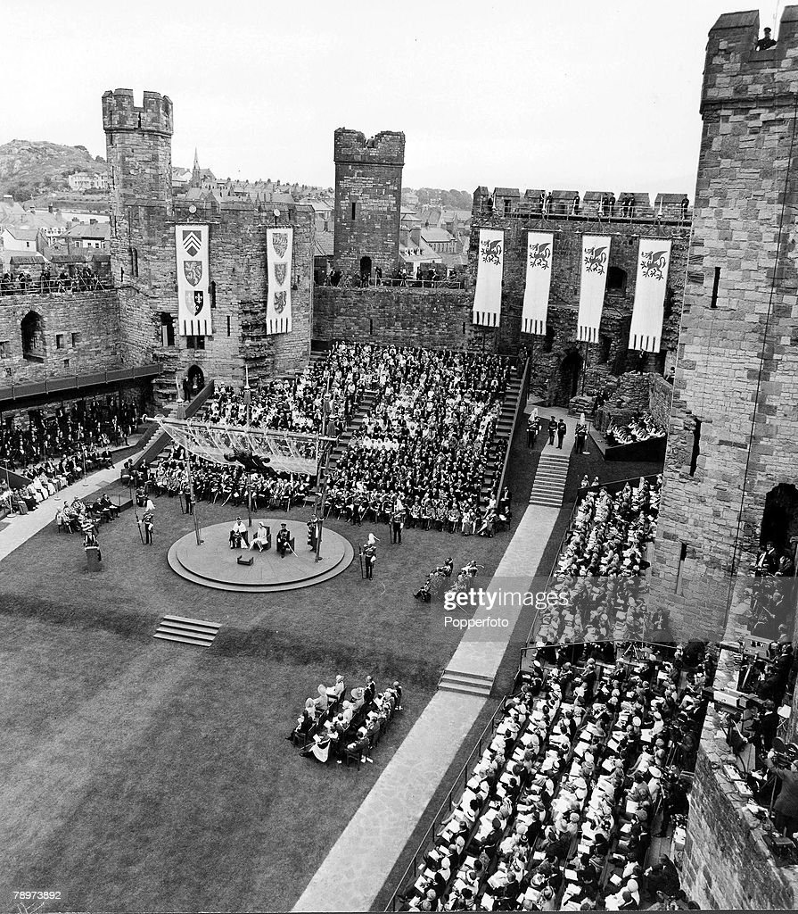 2nd July 1969. A scene at Caerarvon Castle for the investiture of Prince Charles as Prince of Wales ceremony progresses. : News Photo