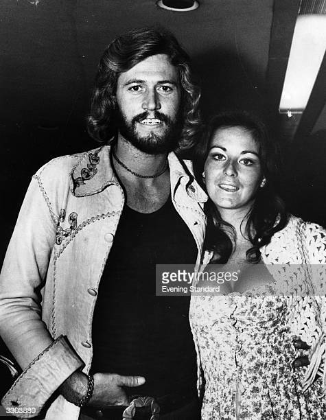 Pop singer Barry Gibb of the Bee Gees group with his wife Linda in 1973