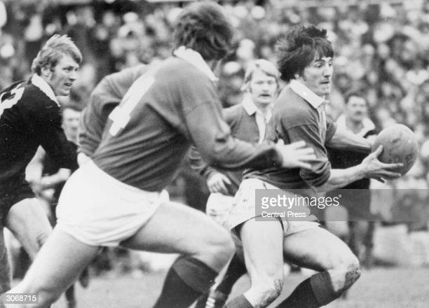 Scottish rugby union fullback Andy Irvine playing with the British Lions against the All Blacks in New Zealand On his retirement in 1983 he was the...