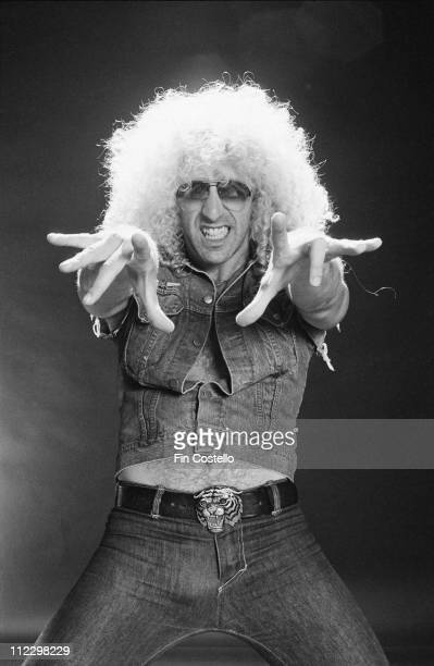Dee Snider from Twisted Sister posed in the studio for the LP cover session of 'Under The Blade' in London in July 1982