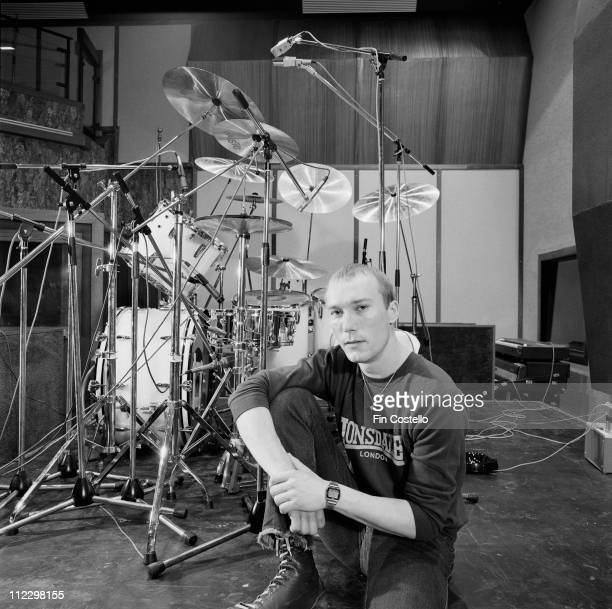 drummer Rick Buckler from The Jam posed with his drum kit at Odyssey Studios in London in July 1982