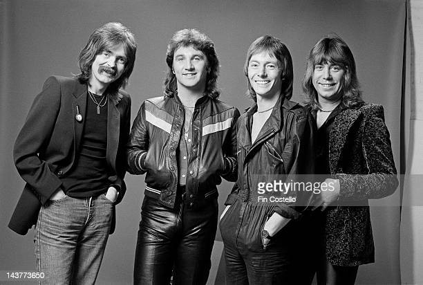 English group Smokie posed in London in July 1980 Left to right drummer Pete Spencer bass player Terry Utley vocalist and guitarist Chris Norman and...
