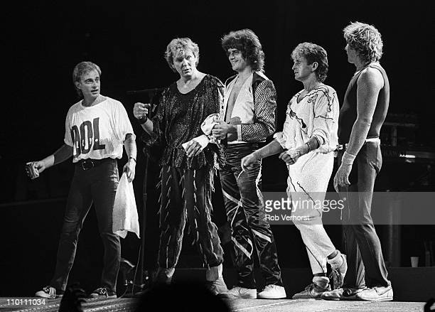 English progressive rock group Yes perform together on stage at Ahoy in Rotterdam Netherlands on 1st July 1984 Left to Right Alan White Chris Squire...