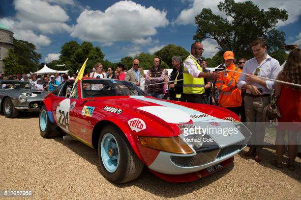 Ferrari 365 GTB/4 Daytona Competizione Celebrating 70 years of Ferrari on the front drive of Goodwood House at Goodwood on 1st July 2017 in...