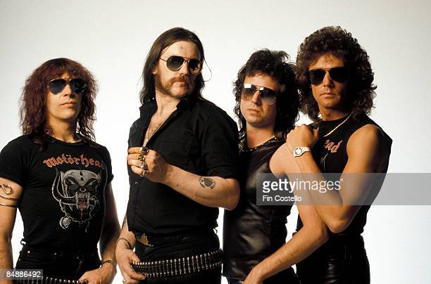 Photo of MOTORHEAD posed in London in July 1984 Left to Right Mick Wurzel Burston Lemmy Kilmister Phil Campbell Pete Gill
