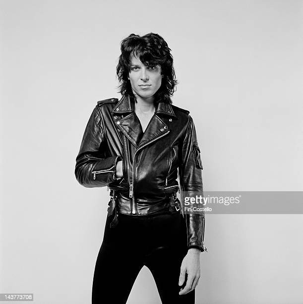 Singer and songwriter Zaine Griff posed wearing a leather biker jacket in London in July 1980.