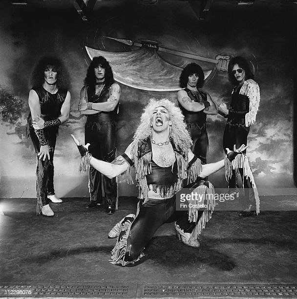 Twisted Sister posed in the studio for the LP cover session of 'Under The Blade' in London in July 1982 Left to Right Mark Mendoza Eddie Ojeda Dee...
