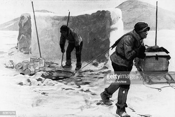 Members of Scott's team finding water in the Antarctic