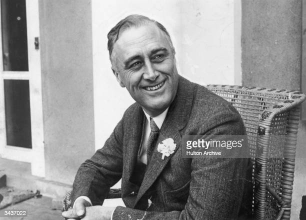 American statesman Franklin Delano Roosevelt smiling when he heard that he was leading the contest for Governor of New York State He later became the...