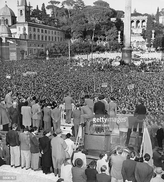 Palmiro Togliatti leader of the Communists in Italy addresses a large meeting in Rome