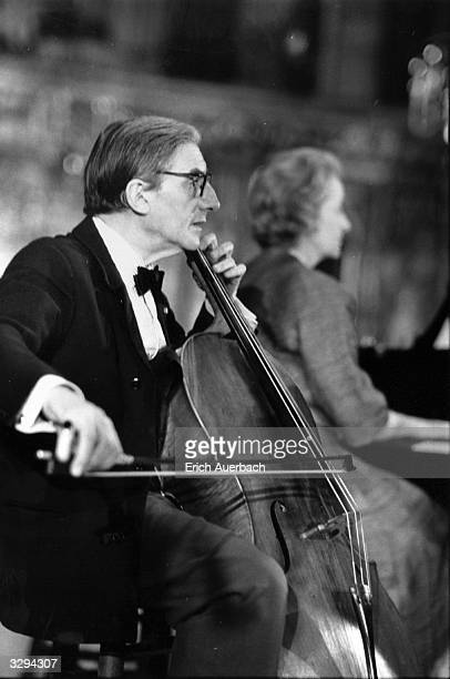 British conductor and cellist Sir John Barbirolli during a rehearsal for the King's Lynn Festival Lady Ruth Fermoy is at the piano