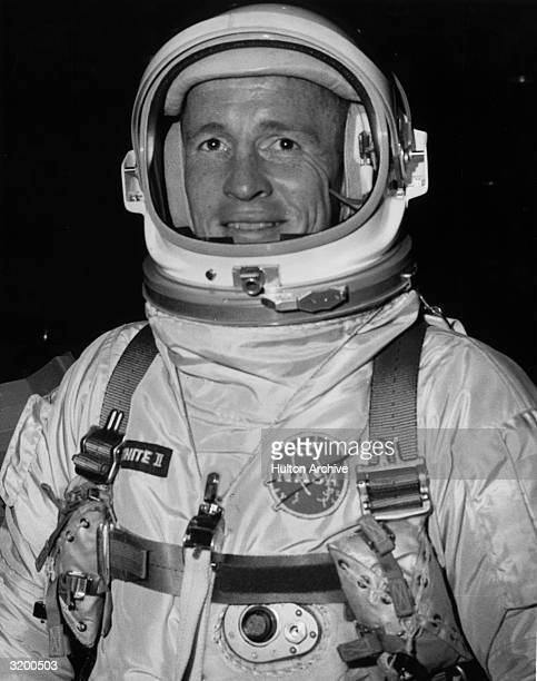 Portrait of American astronaut Ed White wearing the Gemini IV mission extravehicular activity space suit