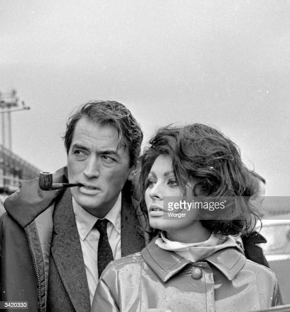 Sophia Loren and Gregory Peck during the production of 'Arabesque' at Gatwick