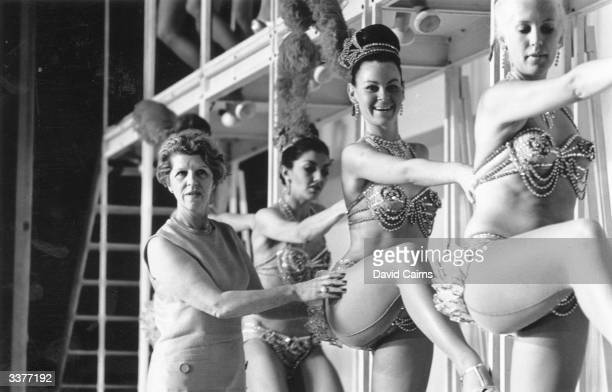 Choreographer Margaret Kelly with the Bluebell girls rehearsing at the London Palladium.