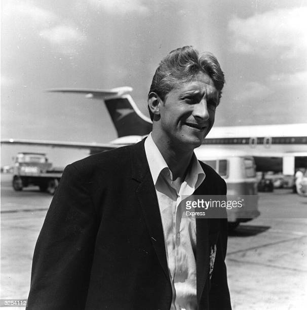 Manchester United footballer Denis Law at the airport