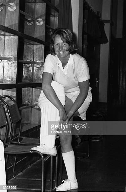 Rachel HeyhoeFlint captain of the Women's Test Cricket Team putting on her pads