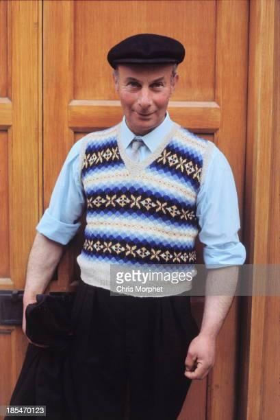 1st JUNE: A man poses wearing a Fair Isle tank top and cap in Lerwick, Shetland Islands in June 1970.