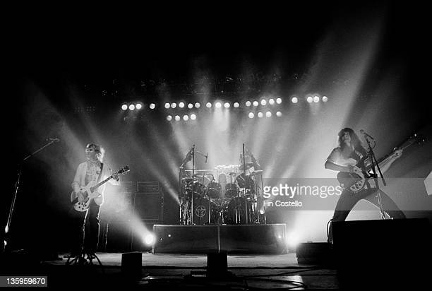 Canadian Progressive rock group Rush perform live on stage during their Permanent Waves tour in England in June 1980 Left to right guitarist Alex...