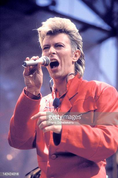 1st JUNE: David Bowie performs live on stage at the Feijenoord stadium in Rotterdam, Netherlands on 1st June 1987.