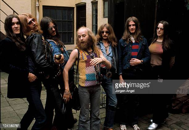 1st JUNE: English rock band Hawkwind pose in Copenhagen, Denmark in June 1972. Members include Left to Right Simon King, Nik Turner, Lemmy Kilmister,...