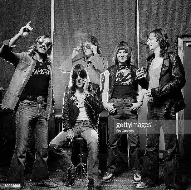 1st JUNE: Hawkwind posed at Rockfield Studios in Monmouth, Wales in June 1980. Left to right: Dave Brock, Simon King, Harvey Bainbridge, Huw...