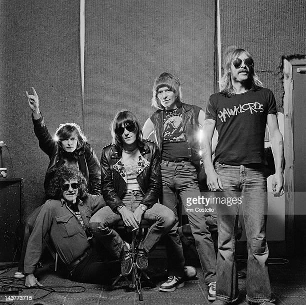 1st JUNE: Hawkwind posed at Rockfield Studios in Monmouth, Wales in June 1980. Left to right: Tim Blake Harvey Bainbridge, Simon King, Huw...