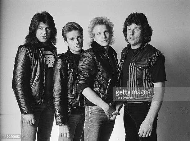 The Michael Schenker Group posed at the Chateau d'Herouville in France in June 1982 during the recording of their album 'Assault Attack' Left to...