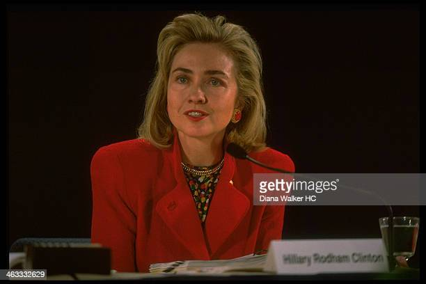 1st Lady Hillary Rodham Clinton appearing at Conversation on Health heath care forum sponsored by Wood Johnson Foundation on March 12 1993 in Tampa FL