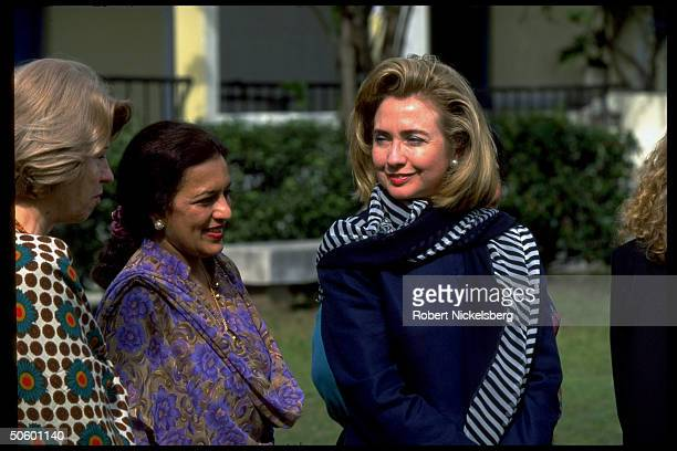1st Lady Hillary Rodham Clinton visiting college for girls while on Asian tour w. Daughter Chelsea.