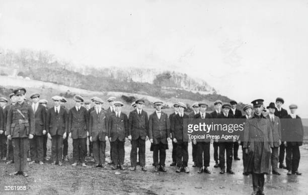 A group of Irish Republican Army soldiers on parade in Moville County Donegal
