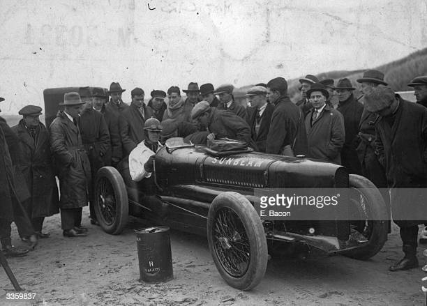 British racing driver Sir Henry Segrave behind the wheel of his Sunbeam at Southport for the Trial on Sands