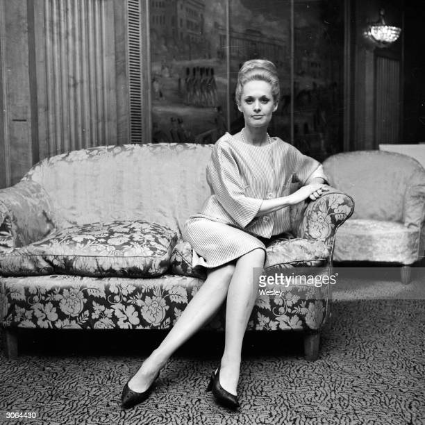 American actress Tippi Hedren star of Charlie Chaplin's comedy 'A Countess from Hong Kong' attends a press conference at the Dorchester Hotel in...