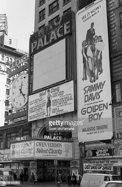 Exterior shot of the Palace Theater on Broadway in Times Square New York featuring the musical Sweet Charity starring Gwen Verdon There is also a...