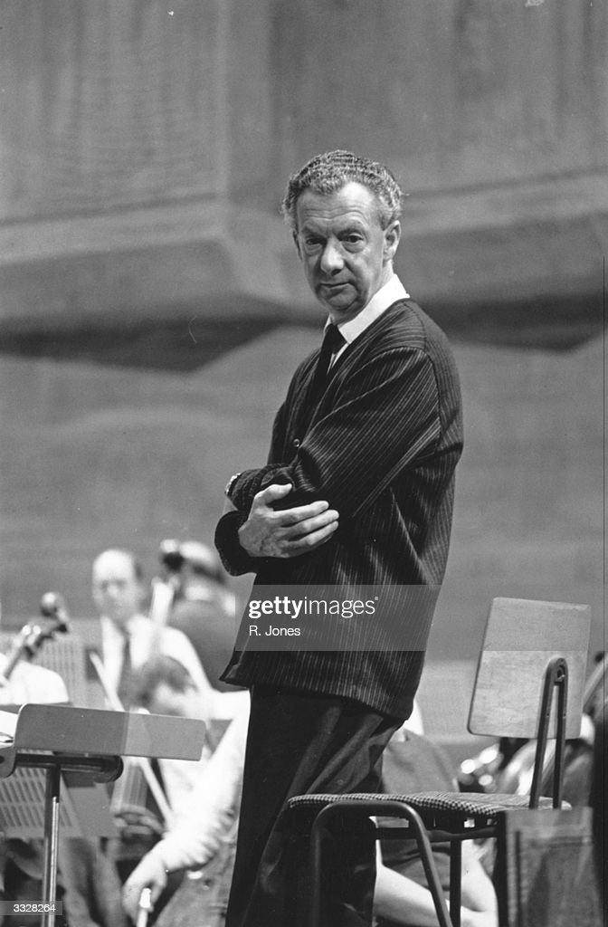 English composer Benjamin Britten (1913 - 1976) during a rehearsal at the Queen Elizabeth Hall, London.
