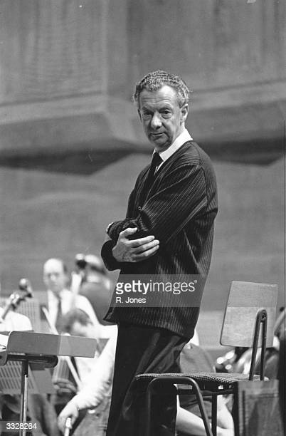 English composer Benjamin Britten during a rehearsal at the Queen Elizabeth Hall London