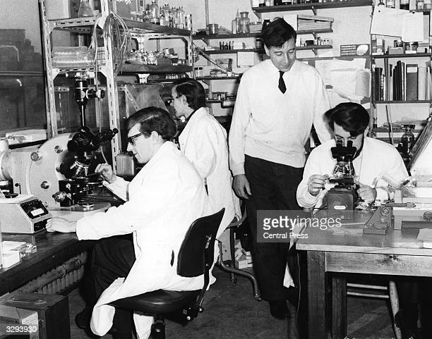 Dr Robert Edwards with his team at Cambridge in the early days of research into in vitro fertilisation
